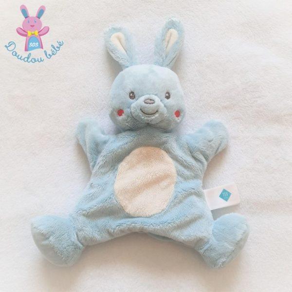 Doudou Lapin marionnette bleu blanc TEX BABY