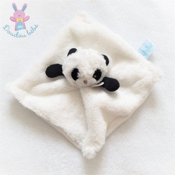 Doudou plat Mon P'tit Panda fourrure blanc et noir BABY NAT