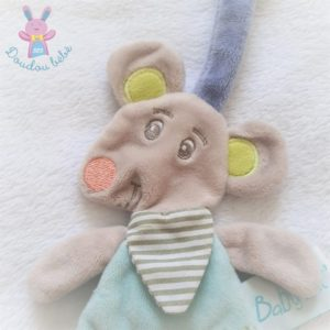 Doudou plat Souris Marceau bleu gris attache tétine BABY NAT
