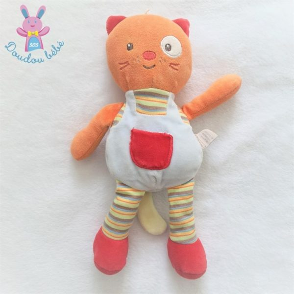 Doudou Chat bleu orange rouge et rayé 30 cm Bébé 9