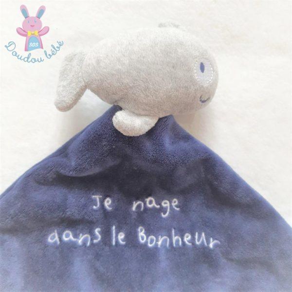 """Doudou plat Poisson bleu gris """"Je nage dans le bonheur"""" PAT & RIPATON"""