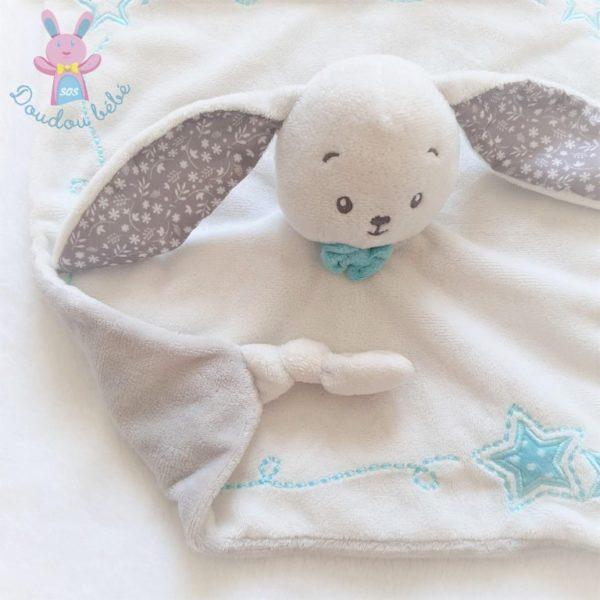 Doudou plat Lapin blanc gris bleu étoiles fleurs PAT & RIPATON