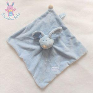 Doudou plat Lapin bleu blanc Born in spring Prémaman