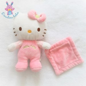 Doudou Hello Kitty grelot rose et blanc mouchoir SANRIO