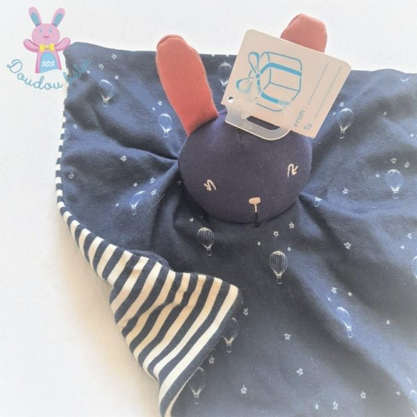 Doudou plat Lapin bleu marine rayé étoiles montgolfières SIMBA