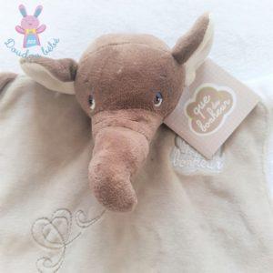 Doudou plat éléphant beige blanc marron QUE DU BONHEUR