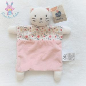 Doudou plat Chat rose blanc motif fleurs MOTS D'ENFANTS