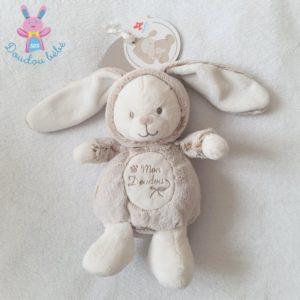 Ours déguisé en Lapin beige chiné blanc «Mon doudou» NICOTOY