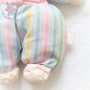 Doudou poupée chiffon rose et rayé vert bleu vintage BOULGOM