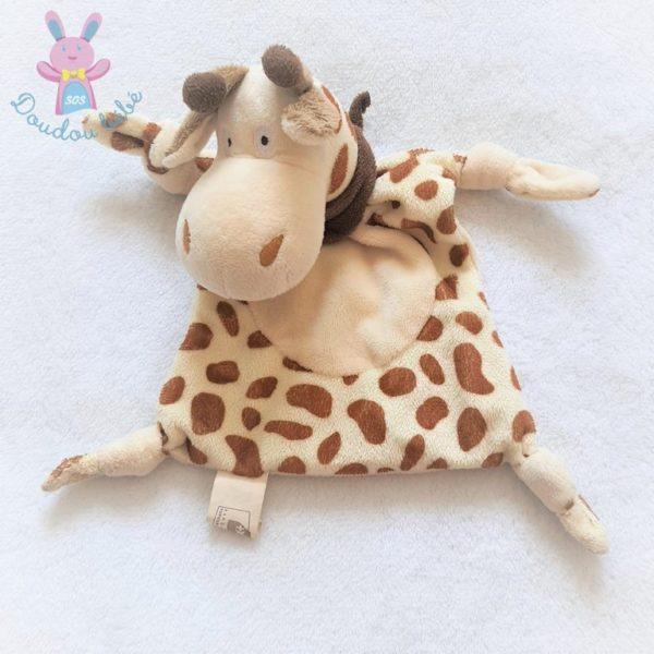 Doudou plat Girafe beige marron BANQUE POPULAIRE