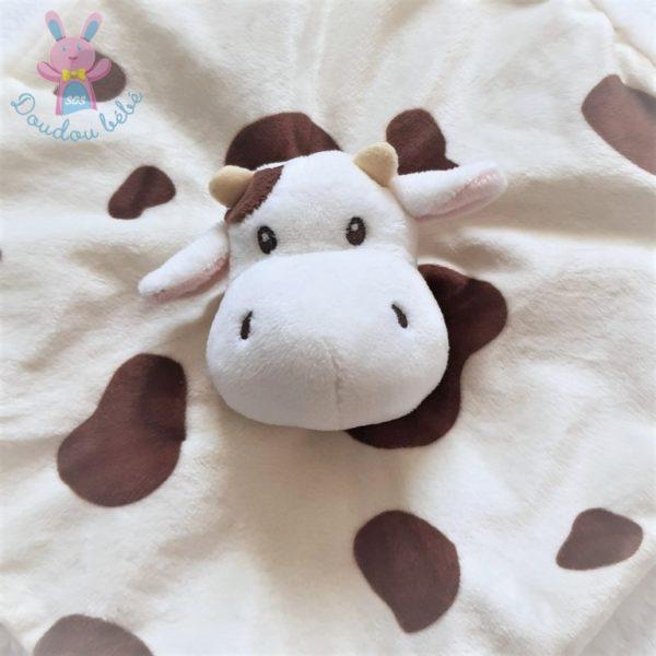 Doudou plat Vache marron blanc beige attache tétine HAN