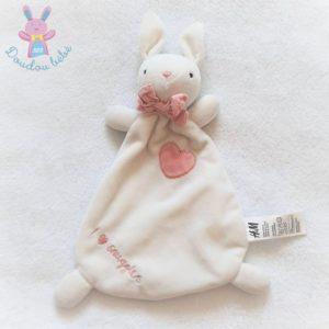 "Doudou plat Lapin blanc rose cœur ""I love snuggles"" H&M"