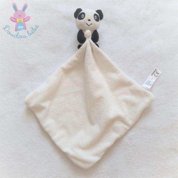 Doudou Panda noir blanc mouchoir ZEEMAN