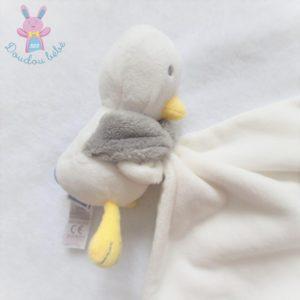 Doudou plat Mouette Oiseau blanc gris mouchoir avec poisson JACADI