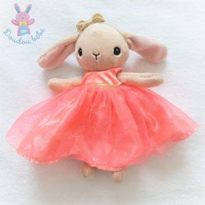 Doudou Lapin beige robe tulle rose et doré H&M