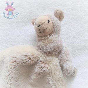 Doudou Mouton mouchoir beige chiné blanc Dani Créations