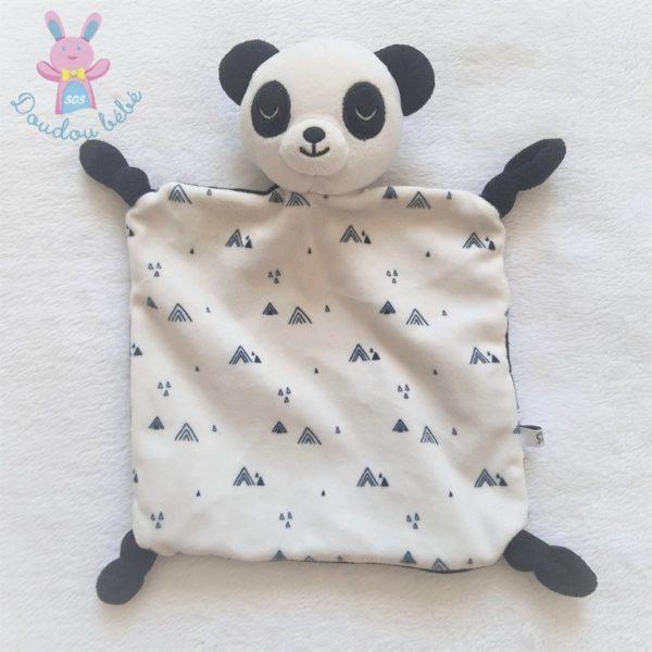 Doudou plat Panda blanc et noir triangles LA REDOUTE