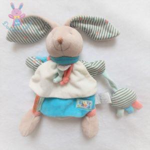 Lapin marionnette Happy puzzle bleu blanc DOUDOU ET COMPAGNIE