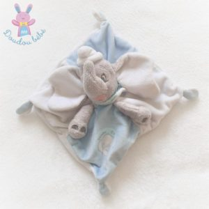 Doudou plat éléphant Dumbo gris bleu blanc argenté DISNEY