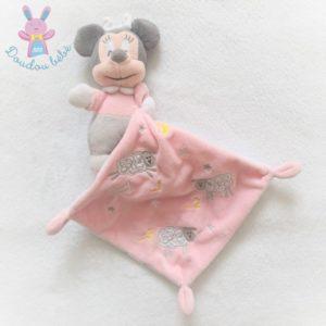 Doudou Minnie rose gris mouchoir rose moutons 123 dos étoiles DISNEY