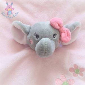 Doudou plat éléphant rose gris fleurs KIMBALOO LA HALLE