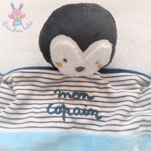 Doudou plat Pingouin bleu rayé Mon copain MOTS D'ENFANTS