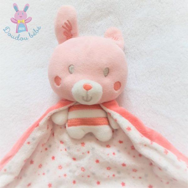Doudou Lapin rose blanc cape étoiles fleurs MOTS D'ENFANTS
