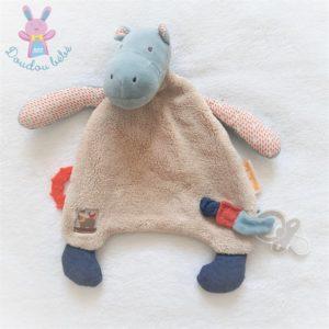 Doudou plat Hippopotame beige bleu Les Papoum MOULIN ROTY
