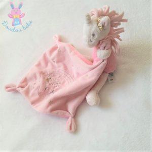 Doudou Licorne rose blanc mouchoir Lili NICOTOY SIMBA