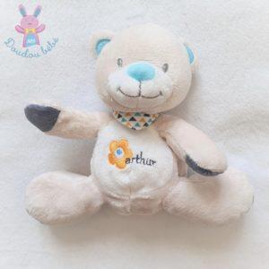 Doudou OURS Arthur beige et bleu avec bandana Bébisol