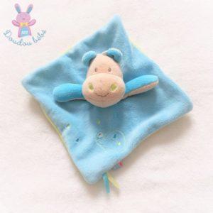 Doudou plat Hippopotame bleu vert tortue SUCRE D'ORGE