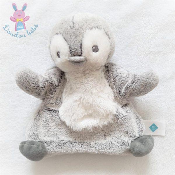 Doudou marionnette Pingouin gris chiné et blanc TEX BABY