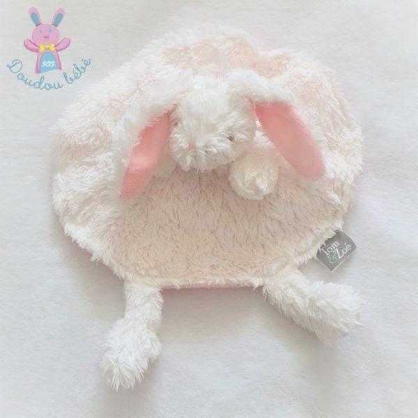Doudou plat Lapin marionnette rond blanc rose Tom & Zoé