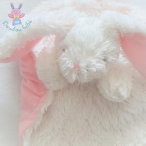 Doudou plat Lapin marionnette rond blanc rose Tom & Zoé Babou