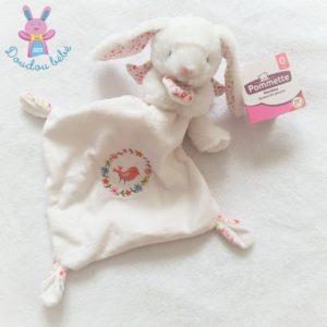 Doudou Lapin blanc mouchoir fleurs oiseau rose POMMETTE