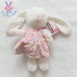 Doudou lapin blanc et robe à fleurs colorées POMMETTE