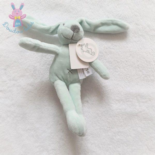 Doudou Lapin vert d'eau et gris 18 cm HAPPY HORSE