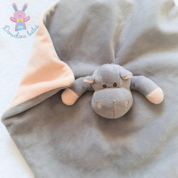 Doudou plat Hippopotame tout doux gris et beige FLOPPYS