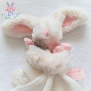 Lapin blanc rose bonbon mouchoir DOUDOU ET COMPAGNIE