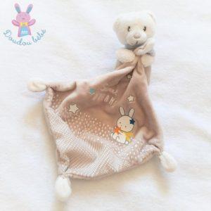 Doudou Ours beige blanc mouchoir sweet dreams MOTS D'ENFANTS