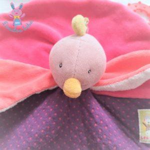 Doudou plat Poule Oiseau rose violet Les Cousins MOULIN ROTY