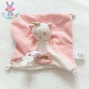 Doudou plat Chat couronne rose blanc poche attache tétine SIMBA