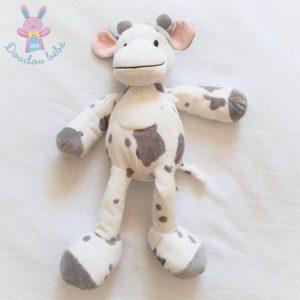 Doudou Vache blanc gris et rose modèle 38 cm NICOTOY