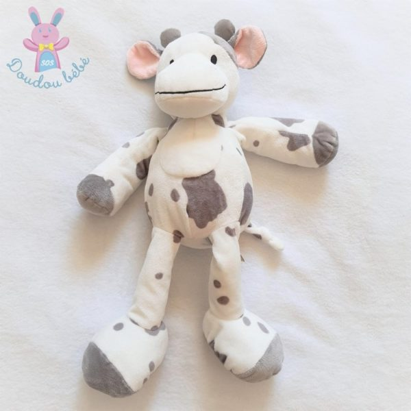 Doudou Vache blanc gris rose 38 cm NICOTOY