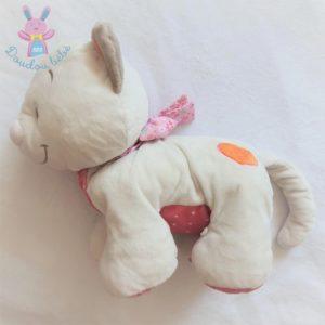 Doudou Chat Iris et Babette blanc rose 35 cm NOUKIE'S