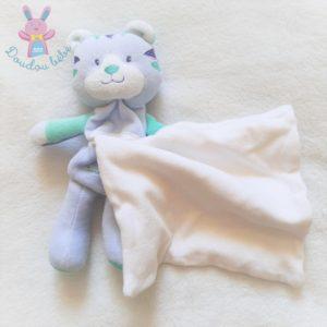 Doudou Tigre Cajou bleu vert mouchoir blanc SUCRE D'ORGE