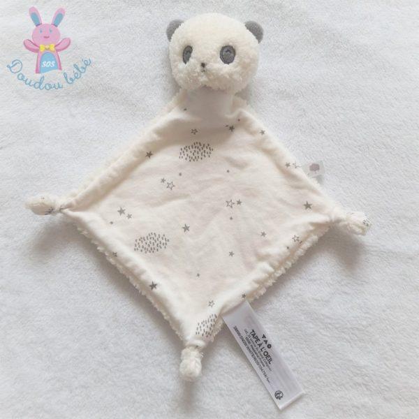 Doudou plat Panda blanc gris étoiles TAPE A L'OEIL TAO
