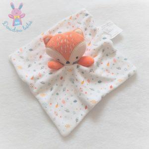 Doudou plat Renard blanc orange motif feuilles SIPLEC