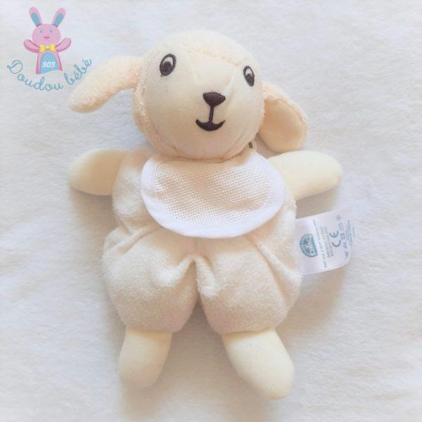 Doudou Mouton blanc et écru avec bavoir à broder DMC