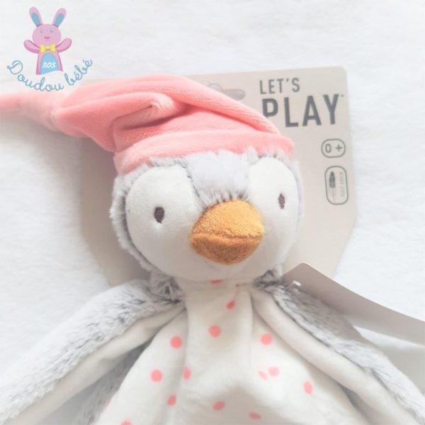 Doudou plat Pingouin gris rose blanc TAPE A L'OEIL